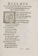 Fête.- Riccardi (Riccardo Romolo), Rime Cantate nel Giardino...Con l'occasione d'una festa fatta quivi per la Reina, 1600.