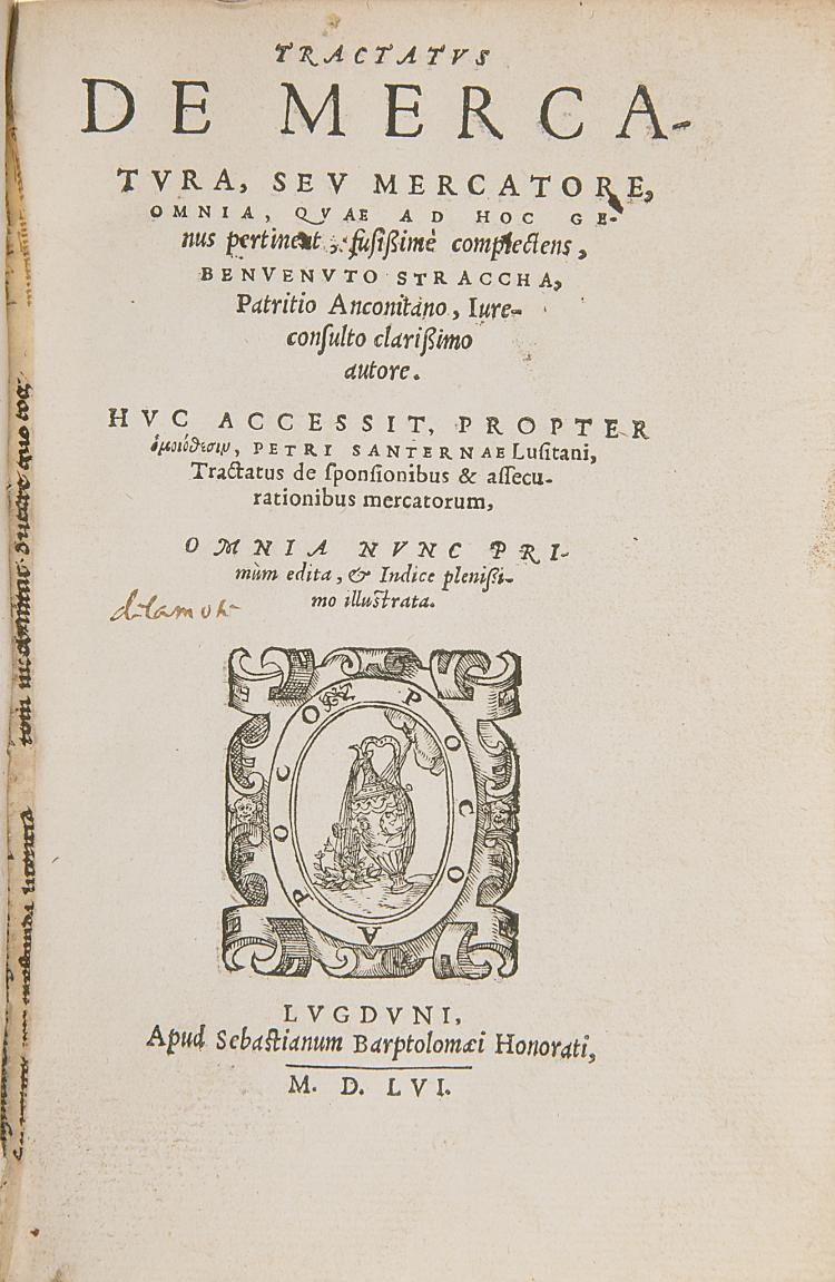 Law.- Straccha (Benvenuto) Tractatus de Mercatura, seu Mercatore Omnia,, 1556.