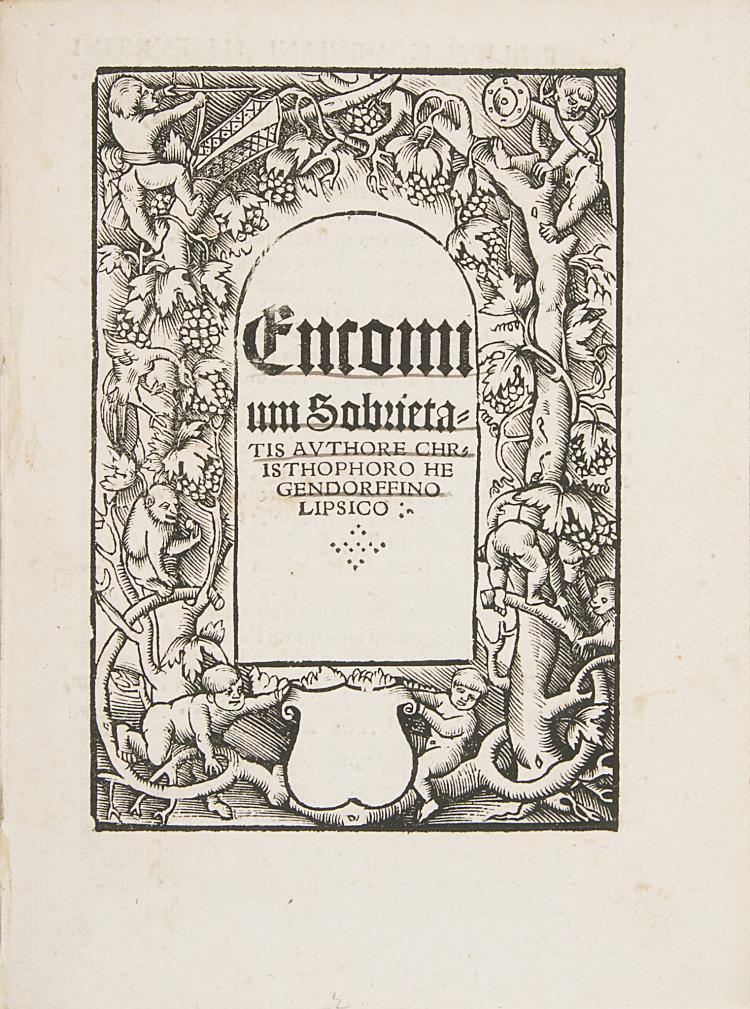 Drink.- Hegendorf (Christoph), Encomium Sobrietatis, 1520.