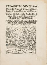 Turks.- Andronicus (Tranquillus Parthenius) Hec Co[n]tinent[ur] in hoc Opusculo...Ad Deum Contra Thurcas Oratio Carmina Heroico, 1515.
