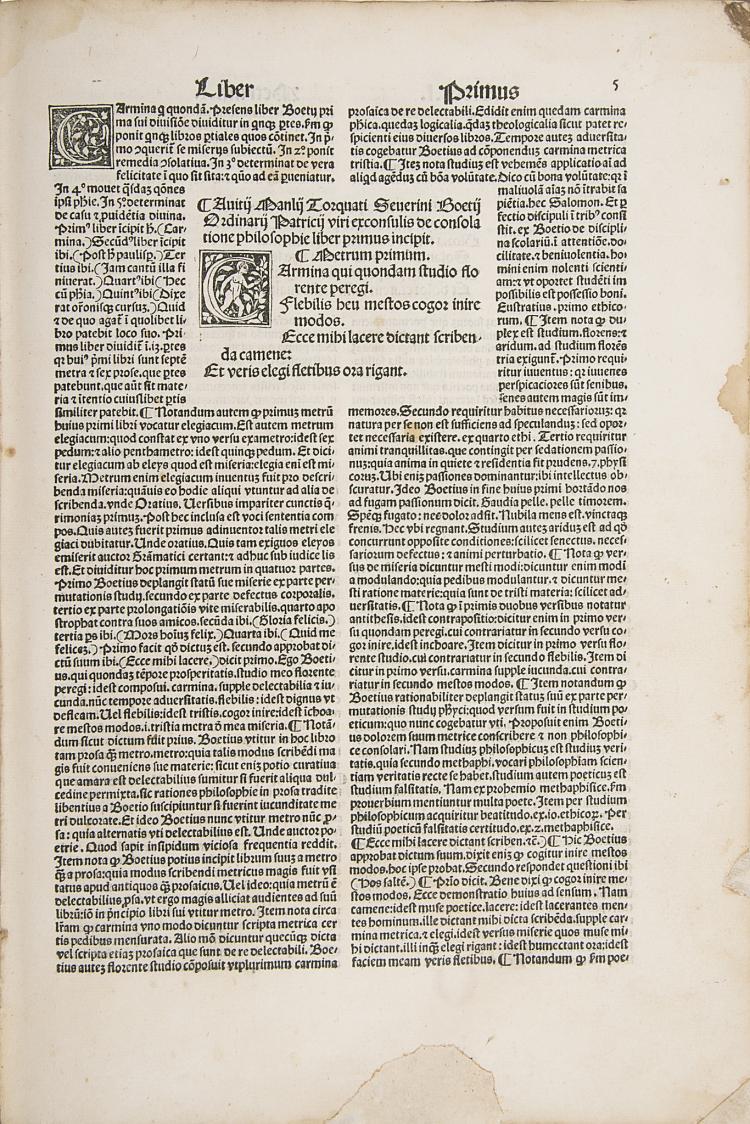 Incunabula.- Boethius (Anicius Manilus Torquatus) de Consolatione philosophica et de disciplina scolarium, 1498.