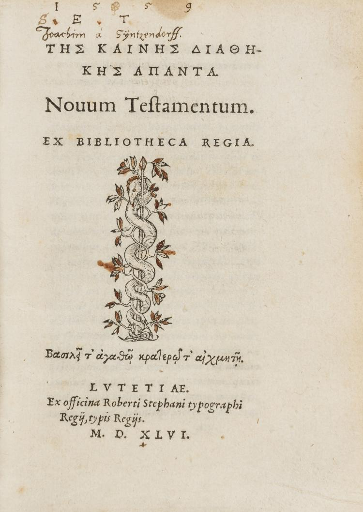 New Testament, Greek.-  Tes Kaines Diathekes Apanta, Novum Testamentum, Robert Estienne, Paris, 1546.  The first Estienne Greek New Testament.