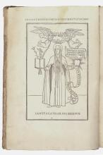 Incunabula.- Catherine of Siena (Saint) Epistole devotissime, extremely rare first issue without the italic type in the woodcut, Venice, [Aldus Manutius], September, 1500.