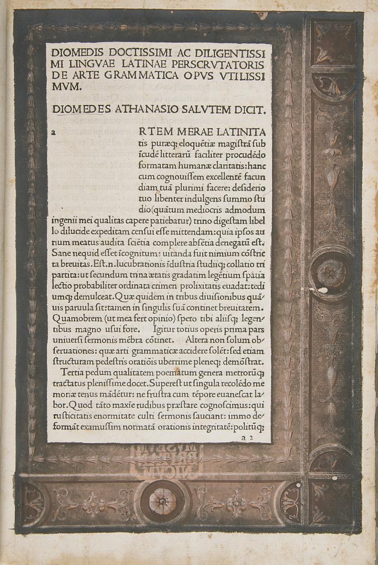 Incunabula.- Diomedes. De arte grammatica, Venice, Venice, c.1476-80.