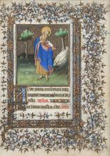 St. John the Baptist, miniature on a leaf from the Chester Beatty Book of Hours, Paris, 1408.