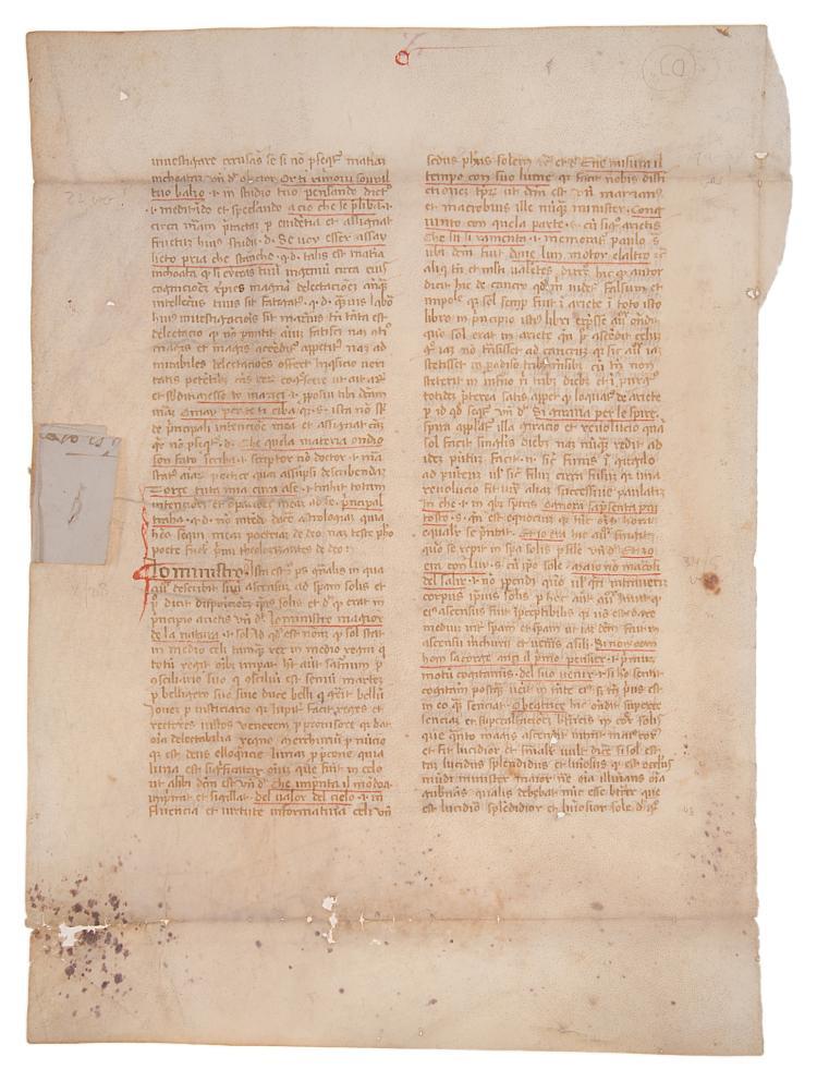 Dante commentary fragment.- Rambaldi (Benvenuto, da Imola) Commentary to Dante's Commedia, ?Northern Italy, late fourteenth century.