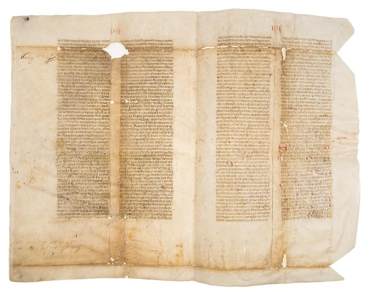 Dante commentary fragment.- Lana (Jacopo della) [Commentary to the Commedia], Northern Italy, mid-fourteenth century.