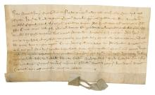 Burton-on-Trent & London.-  William de Naples (merchant, of London, fl. 1355-60) Charter, manuscript in Latin, on vellum, slightly creased and browned, 125 x 230mm., Burton-on-Trent, 1355.