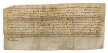 Osgathorpe, Leicestershire.- Charter, Dionisia wife of Simon Pistor of Belton, grants to Geoffrey son of Andrew of Belton and Cecily his wife half an acre of land in Osgathorpe, creased, folds, lacks seal, 115 x 255mm., 1325.