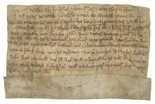 Suffolk, Raydon.- Charter, Robert de Latham [Lafham] grants and confirms to his son Thomas, 15 acres of land called Ware, manuscript in Lation, on vellum, 11 lines, folds, creased, browned, some slight surface wear, lacks seal, 1260.
