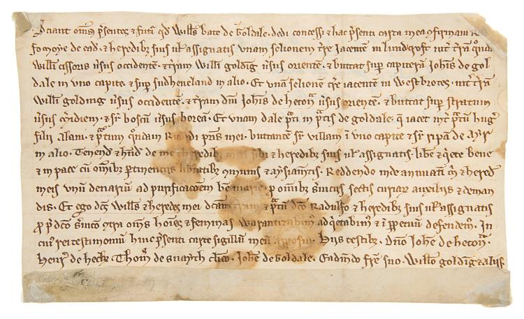 East Yorkshire.- Charter, grant by William Bate of Goldale [Gowdall] to Radulphus Formorie of one selion lying in Luindcroft [near Gowdall, East Yorkshire], manuscript in Latin, on vellum, in a fine charter hand, 14 lines, some brown stains, small fragment missing from upper right hand corner, 110 x 180mm., [c. 1250].