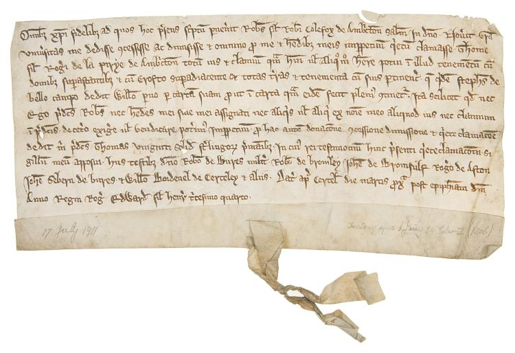 Staffordshire.- Quitclaim by Robert, son of Robert Colefax of Ambrichton [Amerton], manuscript in Latin, on vellum, a few small holes not affecting legibility, 110 x 220mm., 1306.