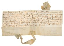 Ferrers (William de, fourth Earl of Derby, c. 1168 - c. 1247).- Charter, Nicholas son of William of Ambriton [Amerton near Stowe-by-Chartley] acknowledges that he is bound to William de Ferrers Earl of Derby for a virgate of land in the village of Gayton, manuscript in Latin, on vellum, 65 x 160mm., [c. 1217].