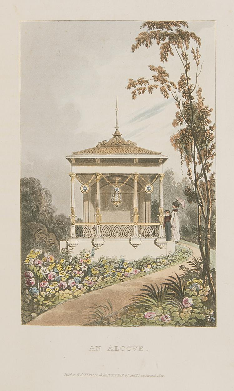 Gardens.- Papworth (John Buonarotti), Hints on Ornamental Gardening:  Consisting of A Series of Designs for Garden Buildings..., 1823.