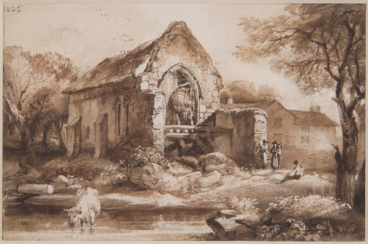Derbyshire.- Cuitt (George), Chapel ruin, Lower Burton, near Misham, Yorkshire; River landscape with Church, 1825.