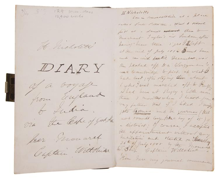 India.- Diary.- Nicholetts (Henry, killed in Borneo, 1840-57), Diary, autograph manuscript, title and 134pp., original half morocco, gilt, 8vo, 1855.