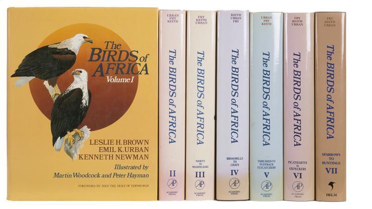 Birds.- Brown (Leslie H.) Emil K.Urban, Kenneth Newman et al., editors. The Birds of Africa, 7 vol., 1st ed., 1982-2004.