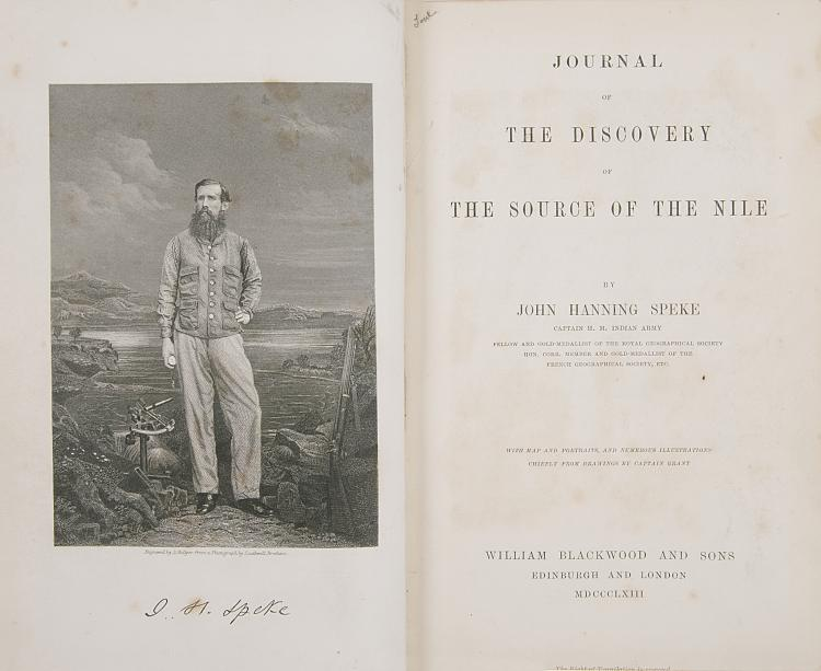 Africa.- Speke (John Hanning) Journal of the Discovery of the Source of the Nile, 1st ed., mod. morocco, 1863.