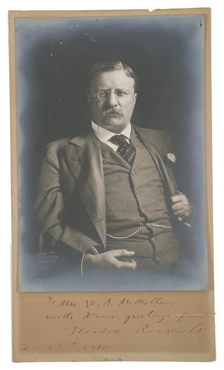 Africa.- Roosevelt (Theodore) Photographic portrait of Roosevelt, sgd. & inscr., Washington, D.C., 1910.