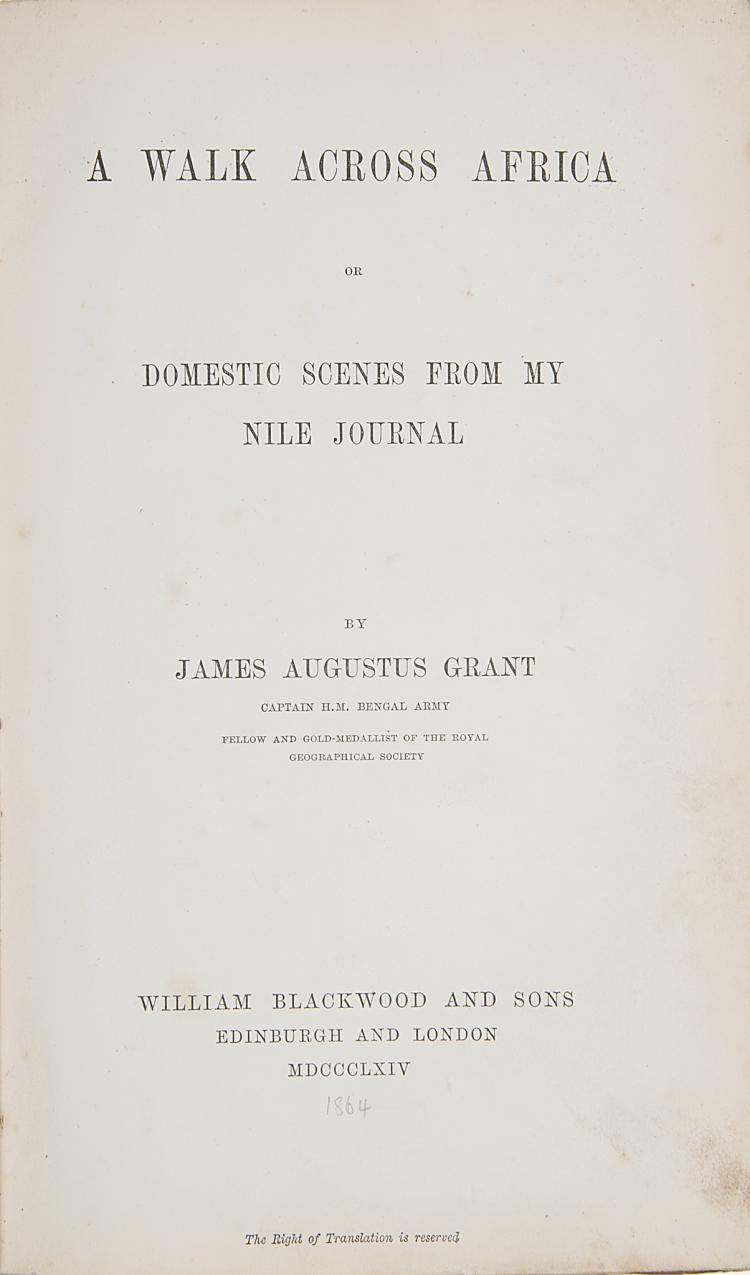 Africa.- Grant  (James Augustus) A Walk Across Africa or Domestic Scenes from My Nile Journal, 1st ed., orig. cream cloth, Edinburgh & London,  1864 & another, Grant (2)
