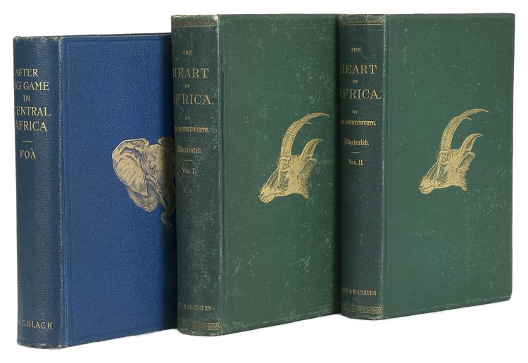 Africa.- Foa (Edouard), After Big Game in Central Africa, 1st Eng ed., 1899 & Schweinfurth. The heart of Africa, 2 vol., 1st US ed., New York, 1874, both orig. pict. cloth (3)