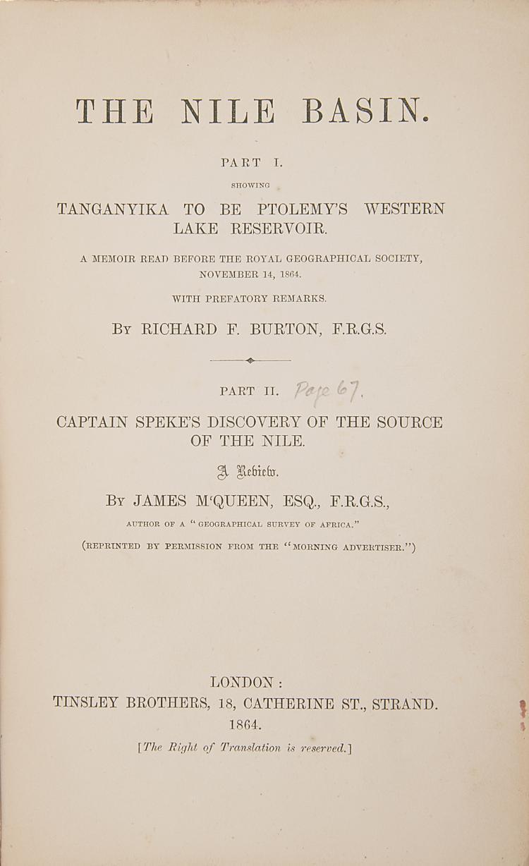 Africa.- Burton (Sir Richard Francis) The Nile Basin, 1st ed., lacking maps, mod. half morocco, 1864.