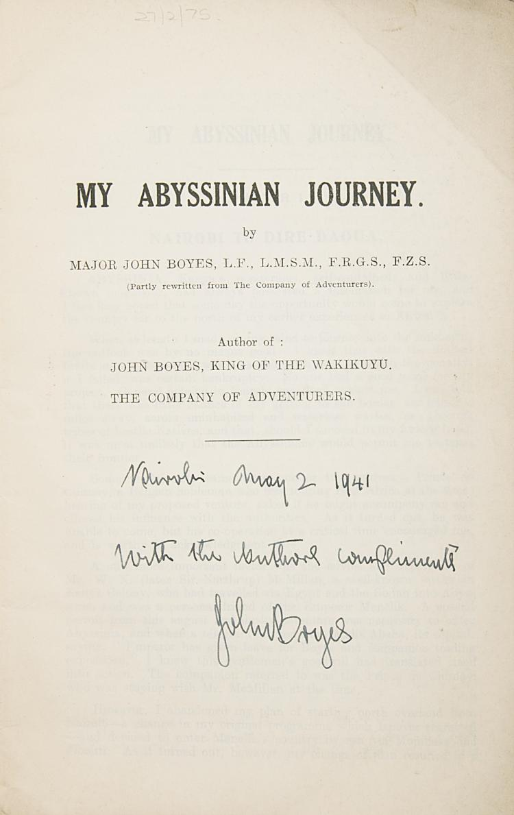 Africa.- Boyes (Maj. John) My Abyssinian Journey, 1st ed., inscr., orig. wrappers, 1940 & others, Boyes (5)