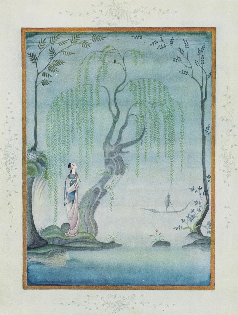 Nielsen (Kay).- Andersen (Hans Christian) Fairy Tales, 12 tipped-in colour plates by Nielsen, original pictorial green moiré silk, [1924].