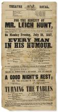 Dickens (Charles).- For the Benefit of Mr. Leigh Hunt... on Monday Evening, July 26, 1847, Will be presented, Ben Jonson's Comedy of Every Man in His Humour, 1847.