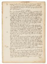 [More (Sir Thomas)] [The answere to the fyrst part of the poysened booke], manuscript in a fine Tudor hand, 1 leaf only, [c. 1530s].