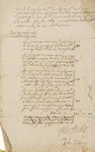 Elizabethan author & Jacobean agent.- Dickenson (John) ) List of expences submitted to the Privy Seal, incurred accompanying the Princess Elizabeth from Arnhem to Cologne, and other diplomatic expences, signed