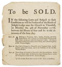 Yorkshire Auction.- To Be Sold... A Messuage or Tenement... all lying in Thornhill..., printed handbill, 1778; and c. 15 others, manuscripts (c. 15 pieces).