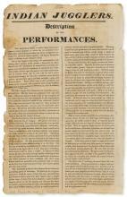 Broadside.-  Indian Jugglers. Description of the Performances, unrecorded, 1814.