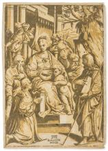 Gandini (Alessandro, fl. 1545-1565) The Virgin and Christ Child seated surrounded by saints, after Girolamo da Treviso (c. 1497-1544), 1610.