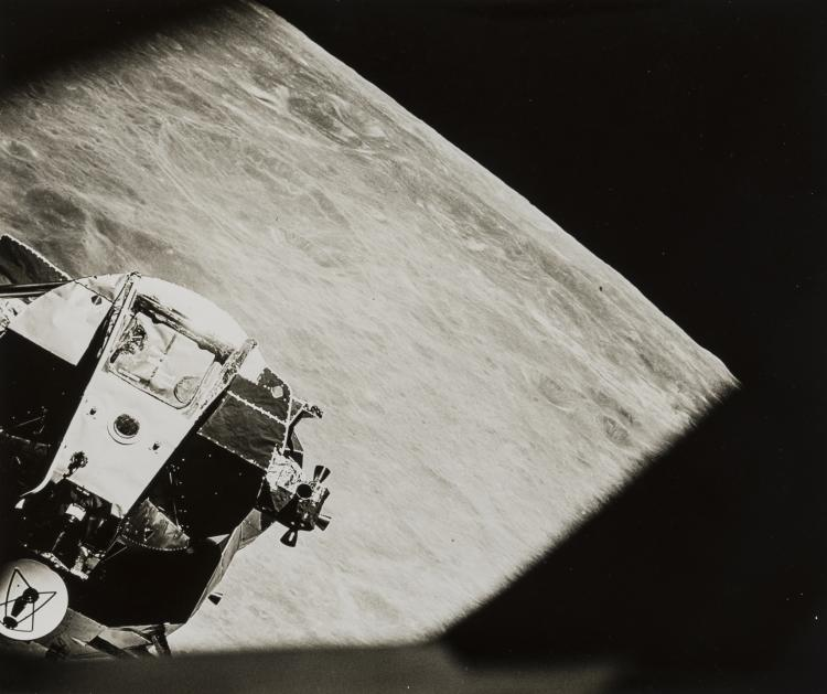 The Lunar Module seen from the Command Module window just be