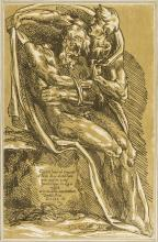 John Skippe (1741-1812) Bearded man with arms bound, a young man covering him with a robe, after Baccio Bandinelli, chiaroscuro woodcut, 1782; and another (2)