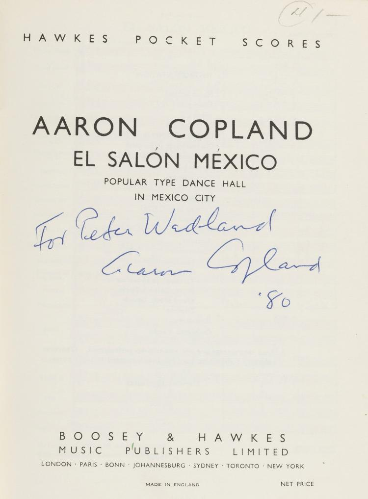 Music copland aaron el salon signed presentation copy o for Aaron copland el salon mexico score
