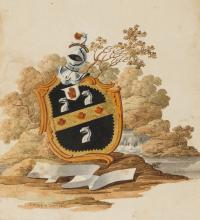 Armorial watercolours.- ?D'Oyly (Sir Charles) 2 coats of arms, 1807; and c. 20 others (c. 20).