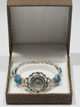 16-GC Sterling Silver Turquoise Mother o Pearl