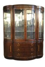 Huge Bernhardt Bow Front China Cabinet 4 Door