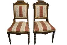 Tom Glavines 2 Antique Victorian Walnut Chairs