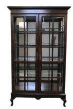 Hekman Burl Walnut Display Cabinet