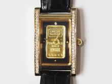 43-GC Swiss Ingot 1g Gold Dial 4 Diamond Watch