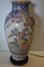 Fine Asian Flower & Birds Lamp