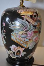 Fine Floral Asian Urn Lamp