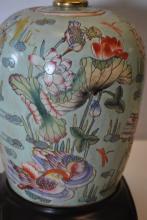 Birds & Flowers Asian Urn Lamp