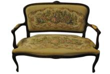 French Settee w Needlepoint Fabric