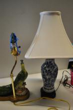 2 Porcelain Lamps, Peacock & Blue White