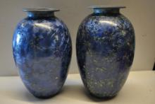 2 Striking Blue Neiman Marcus Vases