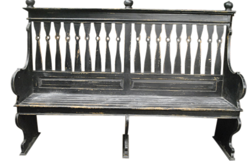 Distressed Painted Black Deacons Bench